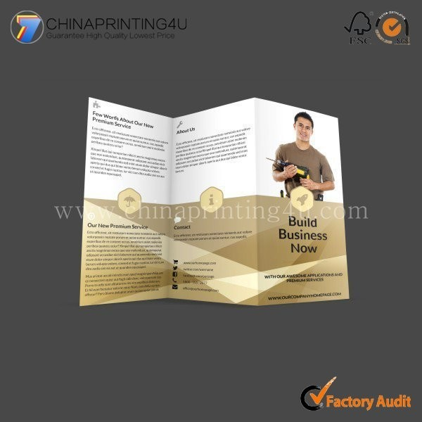 Professional Flyer Printer Color Accordion Commercial Leaflet