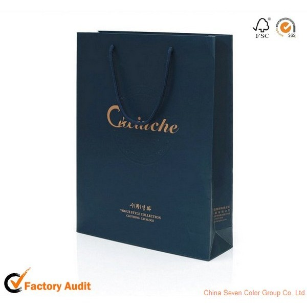 High Quality Customized Printed Christmas Gift Paper Bag With Ribbon Handles